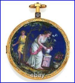 Virgule Escapement In Gold & Enamel Case. Antique Pocket Watch Serviced
