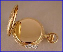 WALTHAM 14k MULTICOLOR SOLID GOLD BOX HINGE HUNTER CASE FANCY DIAL POCKET WATCH