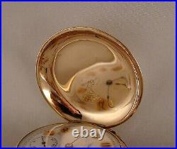 WALTHAM 17j 14k GOLD FILLED BOX HINGE HUNTER CASE FANCY DIAL 18s POCKET WATCH
