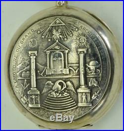 WOW! Unique antique Omega silver Masonic chased case pocket watch c1900