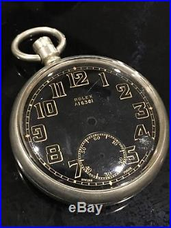 WW2 Military ROLEX Pocket Watch Case And Dial ONLY. FOR PARTS