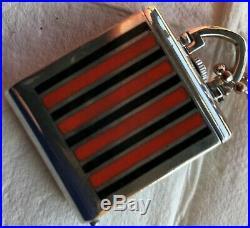 Walser Wald XFine & Rare pocket watch SIlver & Enamel Case 37 mm x 30,5 mm aside