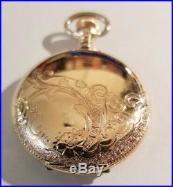 Waltham 0S. 15 jewels fancy dial seaside (1896) 14K. Gold Filled hunter case