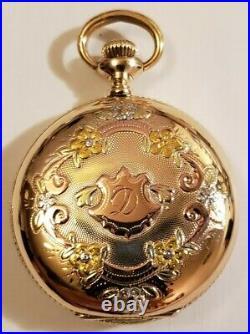 Waltham 0S. Seaside 7J. 14K gold filled multi-color diamond hunter case (1899)