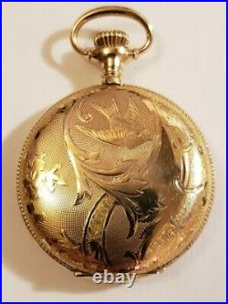 Waltham 0S. Seaside 7J. Extra fancy dial 14K gold filled hunter case (1899)