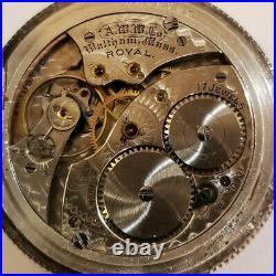 Waltham 12S. Royal 17 jewels adjusted Sterling with gold locomotive hunter case