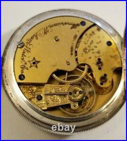 Waltham 14 Size 11 jewels model 1884 grade 12 (1889 to 1890) coin silver case