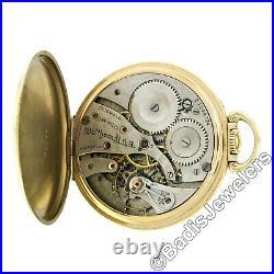 Waltham 17j Pocket Watch with Digital Seconds in 14k Gold Open Face Keystone Case