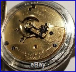 Waltham 18S. 15 jewels adj. Great fancy dial (1893) grade 15 silveroid case