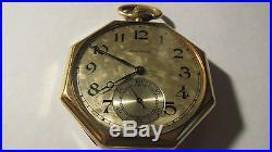 Waltham 1929 Pocket Watch Illinois Case Elgin Napoleon Octagon 48141036