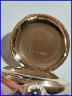 Waltham 6S. 15 jewels mint fancy dial (1906) 14K. Multi-color hunter case