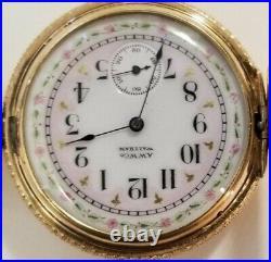 Waltham 6S. 7J. Mint super fancy dial (1892) 14K multi-color Easter Bunny case