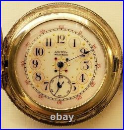 Waltham 6/12S. Grade L, 11J. Super fancy dial Sterling Silver hunter case (1892)