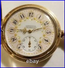 Waltham 6 size 11 jewel mint fancy dial (1892) Super nice 14K G. F. Hunter case