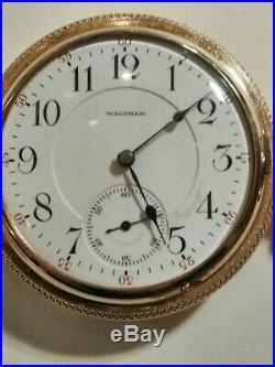 Waltham Crescent St adj. 21 jewels railroad watch 14K. Gold filled hunter case