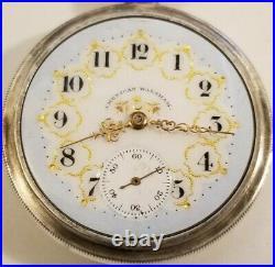 Waltham Riverside 16S. 15J. Adj. Two-tone movement fancy dial (1899) silver case