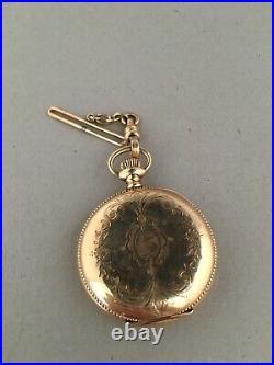 Waltham Seaside Model 1890 Pocket Watch 14k GF Hunter Case and Gold Filled Fob