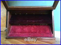 Weighted Antique Mahogany Pocket Watch Display Case Storage Box Glass Fronted