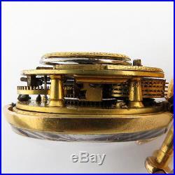 Wm Smith London Verge Fusee Pair Case Pocket Watch 47.5mm Tortoise Shell RUNS
