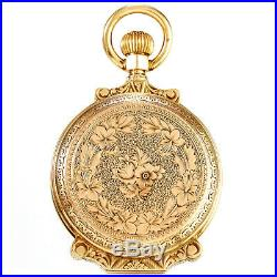 Womens Antique Pocket Watch With Engraved 10k Gold 8 Size Box Hinge Case