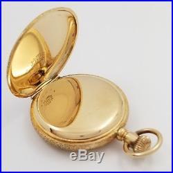Working 1892 Elgin Pocket Watch 13 Jewels Solid 14K Gold Double Hunter Case