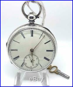 Working English Fusee Silver Case 1898 Open Faced Pocket Watch
