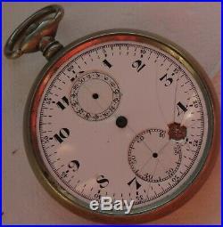 XFine Chronograph Pocket Watch Open Face nickel chromiun case